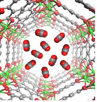 금속-유기 복합체 내부에 붙잡힌 이산화탄소(가운데) - 고려대 화학과 제공
